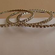 Rhinestone Vintage Bangle Bracelets (Set of 3)