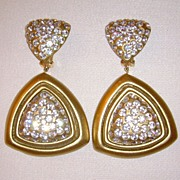 Julian Esquis el Gold-Tone and Rhinestone Clip-On Dangle Earrings
