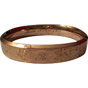 Edwardian Gold Filled Bangle Engraved 1915