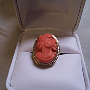 14K Carved  Salmon Coral Cameo Ring Victorian