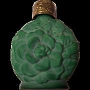 Czech Malachite Glass Purse Perfume Bottle