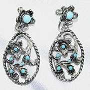 Turquoise Color & Rhodium Plated Earrings - Free Shipping