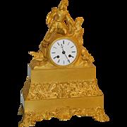 SALE French Gilt Bronze Statue Clock