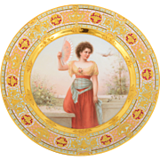 Austrian Painted Cabinet Plate with Gilt Decor
