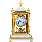 French Crystal Regulator in Gilt Brass and Carrera Marble