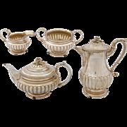 Four Piece Georgian Sterling Silver Tea Set by Charles Fox