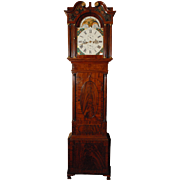 SALE English Exceptional Flame Mahogany Tall Case Clock by Houghton