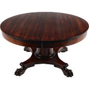American Mahogany Dining Table with Claw Feet & Leaves