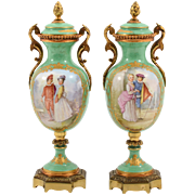French Pair of Porcelain Lidded Urns by Sevres