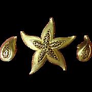 Vintage Gold-Tone Star Brooch & Tear Drop Earrings Set