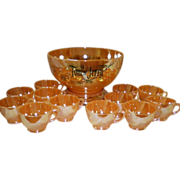 Vintage Peach Luster Fire-King Tom & Jerry Holiday Punch Pedestal Bowl & 12 Cups