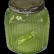 Vintage Ribbed Green Vaseline Glass Hoosier Coffee Canister  / Cookie Jar