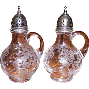 Cambridge Chantilly Salt & Pepper Shakers With Sterling Lids