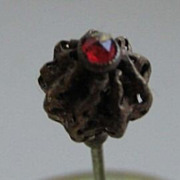 Antique hat pin brass with red jewel