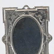 German Antique doll house large tin pewter decorative mirror