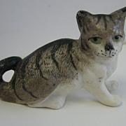Antique miniature ceramic grey cat sitting