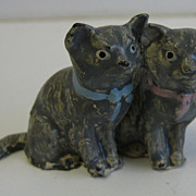 German Antique miniature pair metal cats kittens