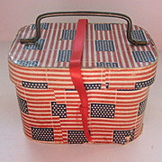 Antique paper litho Patriotic small case with metal handle