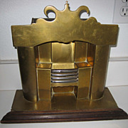 Large antique Brass miniature fireplace vignette doll house on wood base