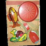 Ohio Art child's vintage tin sand toy original card holder