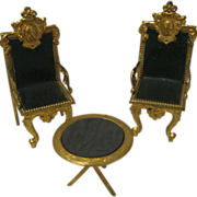 Unusual antique miniature ornate ormolu chairs leather seat set