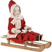 Antique Christmas Bisque Head large Girl on Sled
