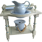 Antique doll toilette white & blue painted washstand enamel graniteware chamber set