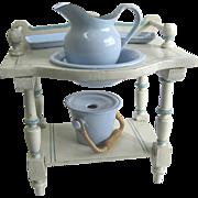 Antique doll toilette white & blue painted washstand enamel graniteware chamber set