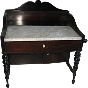 Antique doll miniature Rosewood washstand toilette with marble top