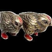 Vienna Bronze pair of miniature chickens