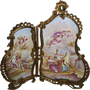 Antique Viennese Austrian miniature Enamel & Bronze double screen