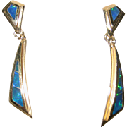 One pair of 14K yellow gold & Black Opal dangle earrings