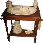 Antique French Sarreguemines Kate Greenaway Enfants Richard wood washstand set