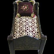 Antique Biedermeier large scale Boule gilt painted Furniture antique doll Bed