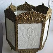 Antique German porcelain Lithophane panel light fixture or candle holder KPM