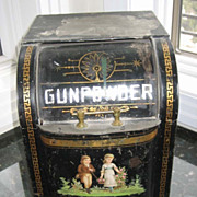 Antique Country Store Gunpowder Tin with litho of children