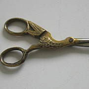 French Fashion antique doll gilt stork sewing scissors