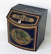 Antique Country Store Green tea Tin childrens graphics