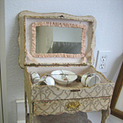 Antique all original French floral vanity toilette with mirror