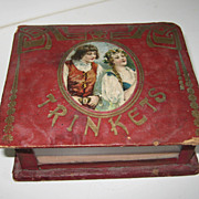 Antique glass & red leather pictorial trinket box