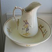 REDUCED Antique Kate Greenaway French Sarreguemines Enfants Richard pitcher & bowl set