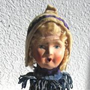 German Antique rare doll head hat stand Papier-Mâché head