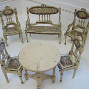 Antique German miniature dollhouse Ornate Wood furniture Paul Leonhardt