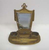 Antique German doll house miniature gilt painted pewter dresser mirror