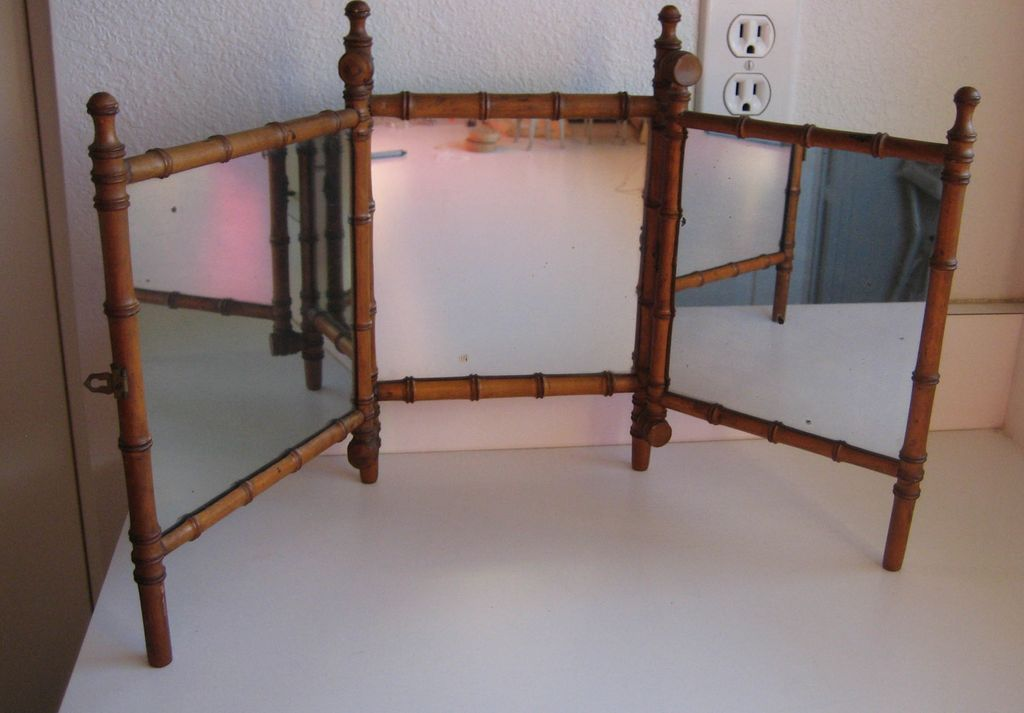 Antique French Faux Bamboo Maplewood  triple doll mirror