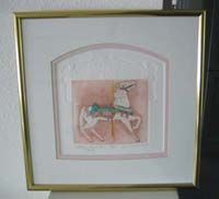 Antique Looff Carousel Horse Picture Hand watercolor etching