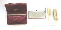Small French fashion antique red soft leather necessaire vanity items