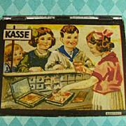 Antique German child's tin toy Kasse cash box