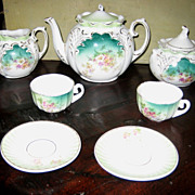 REDUCED RS Prussia German child's antique green floral toy tea set