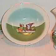SALE Child's doll Asian Chinese antique toy wash set pitcher bowl toilette set